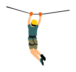 Extreme sportsman took down with rope. Boy climbing vector illustration, isolated on white. Sport weekend zipline action in adventure park rope ladder. Ropeway for fun, team building. Rescue mission.