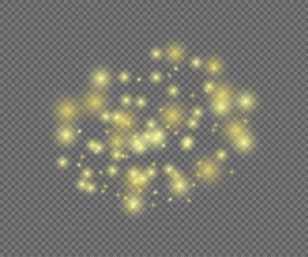 Vector Shining Magic Lights on Transparent Background.