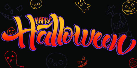 Happy Halloween lettering, vector illustration. Hand drawn text, ghost, skull, pumpkin, grave, isolated on black background.