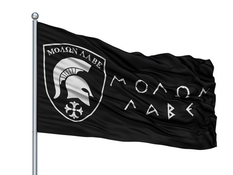 Molon Labe Isolated Flag on Flagstaff, White Background, 3D Rendering
