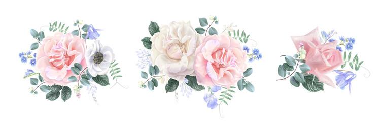 Vector vintage floral banner set with garden rose