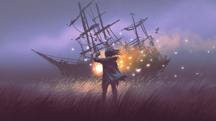 Deurstickers Grandfailure night scenery of a man with magic lantern standing in field looking at shipwreck, digital art style, illustration painting
