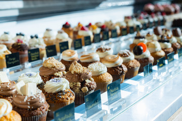 Assortment of cakes at a bakery