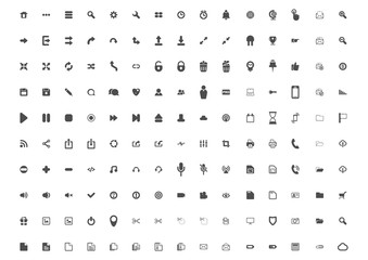 Icon. Set of 150 common web and mobile icons. Flat vector.