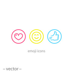 emoji icons, linear signs isolated on white background - editable vector illustration eps10