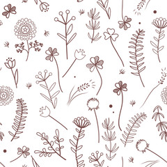 Wall Mural - Seamless pattern with wild meadow herbs silhouettes