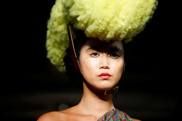 A model presents a creation at the Pam Hogg catwalk show during London Fashion Week Women's in London