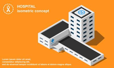 Hospital with helipad isometric vector illustration.