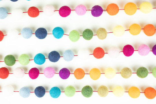 Felted Garland Colorful Balls