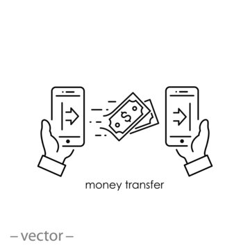 money transfer icon, linear sign isolated on white background - editable vector illustration eps10