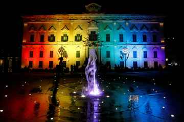 The Auberge de Castille, the Office of the Prime Minister, is floodlit in rainbow colours to mark Malta Pride Week in Valletta