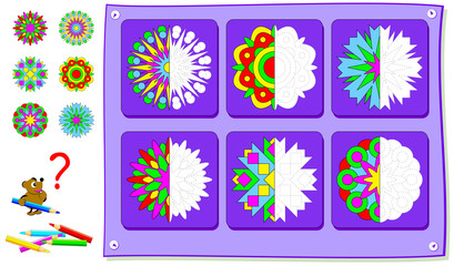 Educational page for kids. Need to paint second parts of flowers. Developing children skills for drawing and coloring. Vector cartoon image.