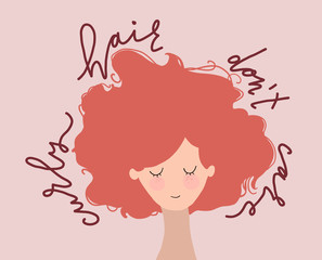 flat vector illustration of red-haired girl with lettering - curly hair don't care