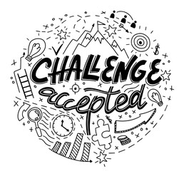 hand drawn vector of challenge accepted poster, doodle symbols