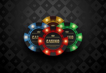 Vector red green blue yellow casino poker chip with luminous light elements. Black silk card suits background. Blackjack or online casino web banner, logo or poster.