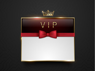 Vip dark red glass label with golden frame, crown and red bow tie on black silk geometric background. White text place. Premium glossy template . Vector luxury illustration.