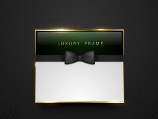 Vip dark green glass label with golden frame and black bow tie on black silk geometric background. White text place. Premium glossy template . Vector luxury illustration.