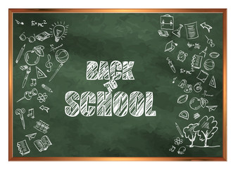 Back to school. Welcome to school. A blackboard with drawings on the theme of education.