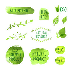 Vector Set of Watercolor Drawn Icons, Natural Products, Organic Healthy Eating Concept, Drawings Collection.