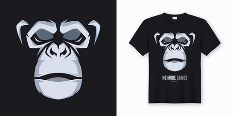 Vector t-shirt and apparel design, print, poster with styled fac