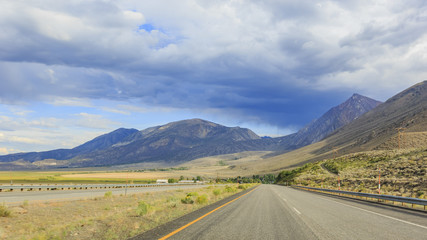 Stunning rural highway 395 landscape with beautiful clouds