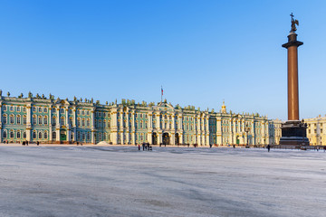 View of Palace Square with Winter Palace in winter. Saint Petersburg. Russia