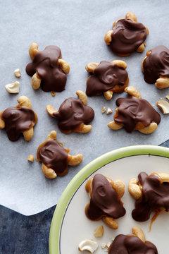 Cashew Caramel Chocolate Turtles