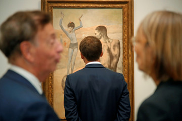 """French President Macron visits the """"Picasso. Bleu et rose"""" exhibition dedicated to Pablo Picasso's blue and rose periods at the Musee d'Orsay in Paris"""