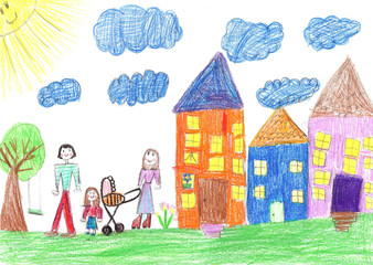 Child's drawing happy family with a stroller walk outdoors together