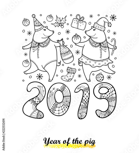 Vector greeting card with outline couple of funny pig isolated on ...