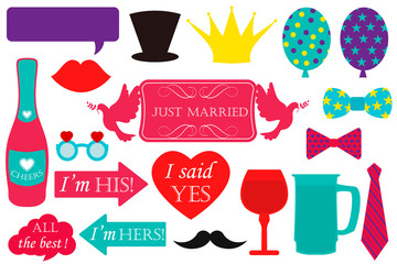 Photo booth props for weddings. Vector
