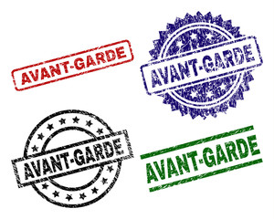 AVANT-GARDE seal prints with corroded texture. Black, green,red,blue vector rubber prints of AVANT-GARDE tag with dirty texture. Rubber seals with round, rectangle, medal shapes.