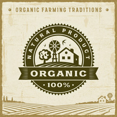Vintage Organic 100% Natural Product Label. Editable EPS10 vector illustration with clipping mask and transparency in retro woodcut style.