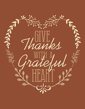 Give Thanks with a Grateful Heart Thanksgiving Autumn Fall Floral Flourish Shape Holiday