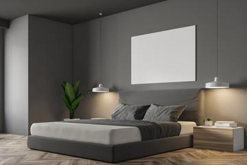 Grey Scandinavian bedroom corner, poster