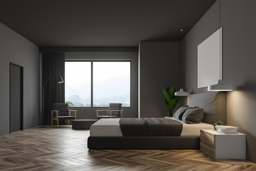Black minimalistic bedroom, gray bed side view