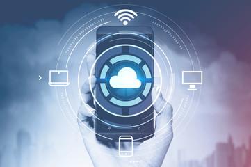 Fotobehang - Woman hand with cloud computing interface phone