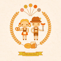 vector hand drawing illustration of people on celebrations of Oktoberfest