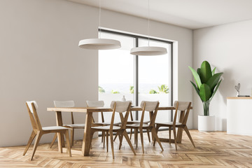 White dining room interior side view