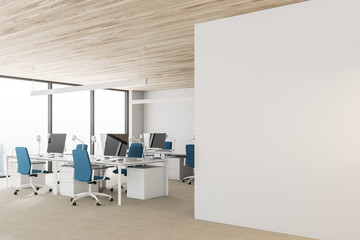 Wooden ceiling open space office, white walls