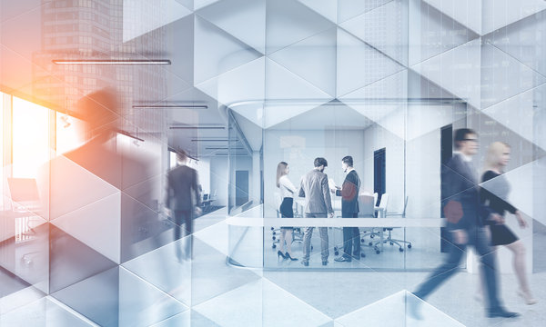 Business people in modern office geometric pattern