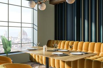 Elegant laid table in luxury European restaurant