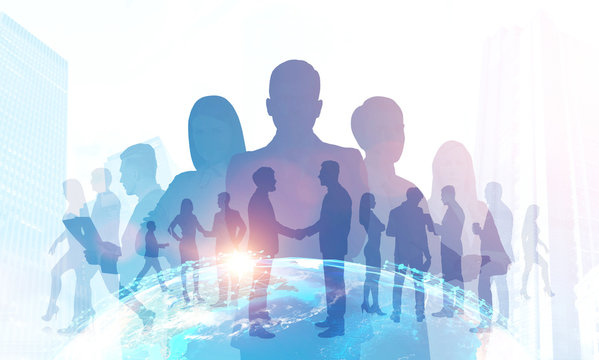 Business team silhouettes, trade in global world