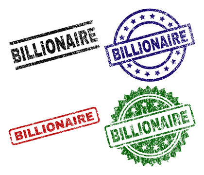 BILLIONAIRE seal prints with distress surface. Black, green,red,blue vector rubber prints of BILLIONAIRE caption with unclean surface. Rubber seals with round, rectangle, rosette shapes.