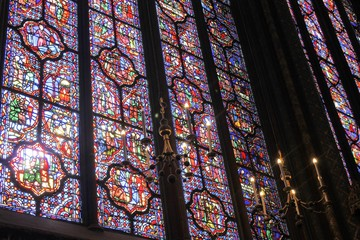 The Sainte Chapelle Holy Chapel in Paris, France. The Sainte Chapelle is a royal medieval Gothic chapel in Paris and one of the most famous monuments of the city.