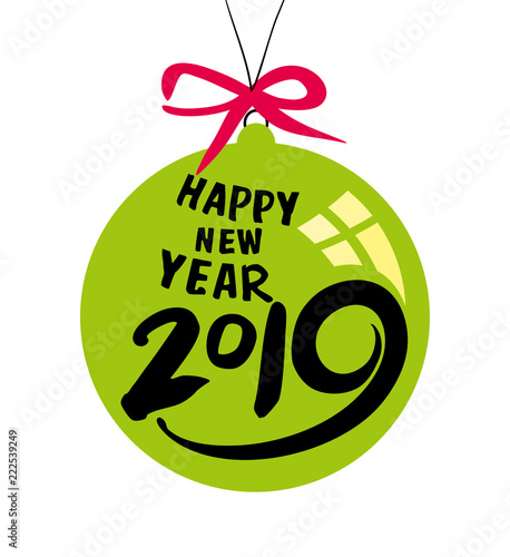 green christmas ball by 2019 new year vector template for the festive new years design