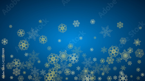 new year snow on blue background gold glitter snowflakes christmas and new year snow