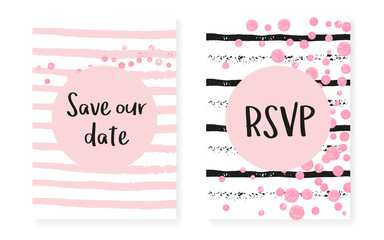 Wedding card invitation with dots and sequins. Bridal shower set with pink glitter confetti. Vertical stripes background. Luxury wedding card for party, event, save the date flyer.