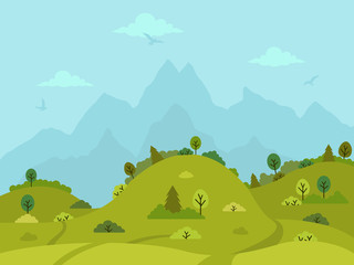 Rural hilly landscape with green hills, trees and mountains. Flat design, vector illustration.