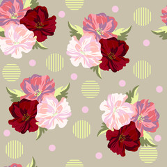 Seamless background with beautiful poppies. Design for cloth, wallpaper, gift wrapping. Print for silk, calico and home textiles.Vintage natural pattern